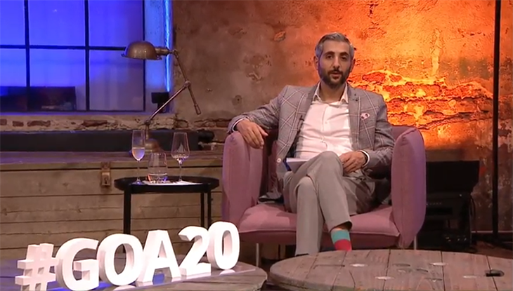 Michel Abdollahi moderierte den #GOA20. Foto: Screenshot YouTube